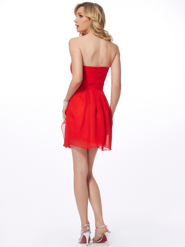 Stylish Sheath Sweetheart Sleeveless Short Chiffon Homecoming Dress