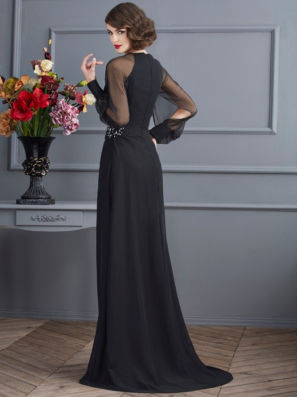 Stylish Sheath Scoop Long Sleeves Long Chiffon Dress