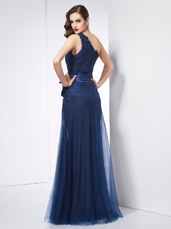 Stylish A-Line One-Shoulder Sleeveless Long Net Dress