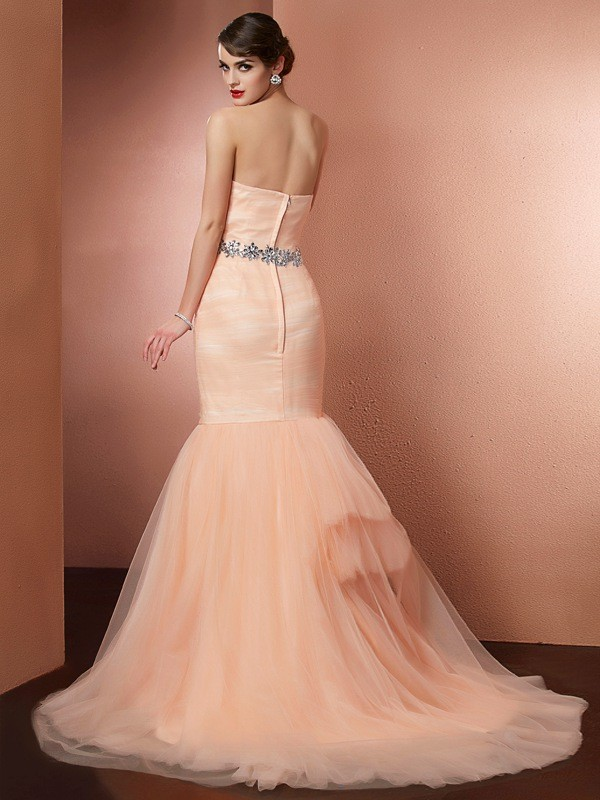 Stylish Mermaid Strapless Sleeveless Long Net Dress