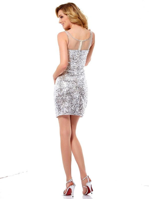 Stylish Sheath Scoop Sleeveless Lace Short Sequins Homecoming Dress
