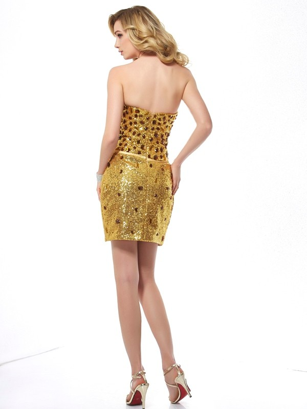 Stylish Sheath Sweetheart Sleeveless Short Sequins Dress