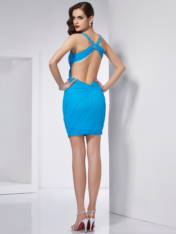 Stylish Sheath Spaghetti Straps Sleeveless Short Chiffon Homecoming Dress