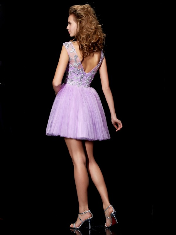 Fashion A-Line Bateau Short Sleeves Short Satin Homecoming Dress