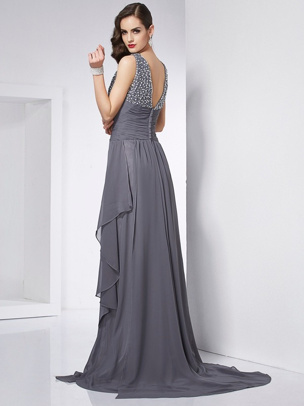 Fashion A-Line Jewel Sleeveless Long Chiffon Dress