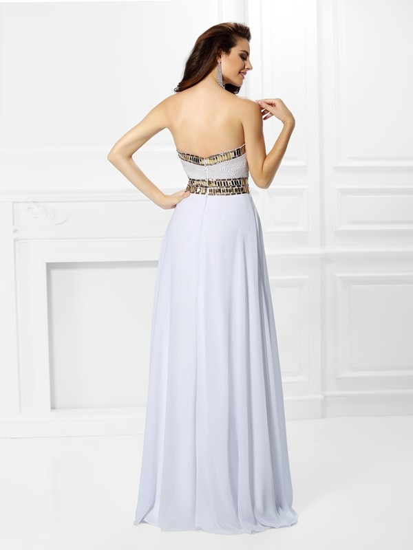 Fashion Empire Sweetheart Sleeveless Long Chiffon Dress