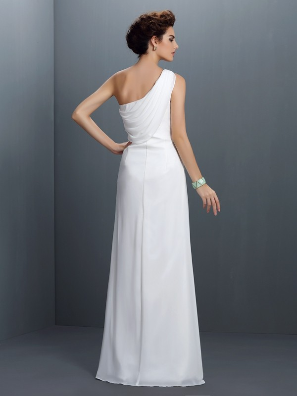 Fashion Sheath One-Shoulder Sleeveless Long Chiffon Dress