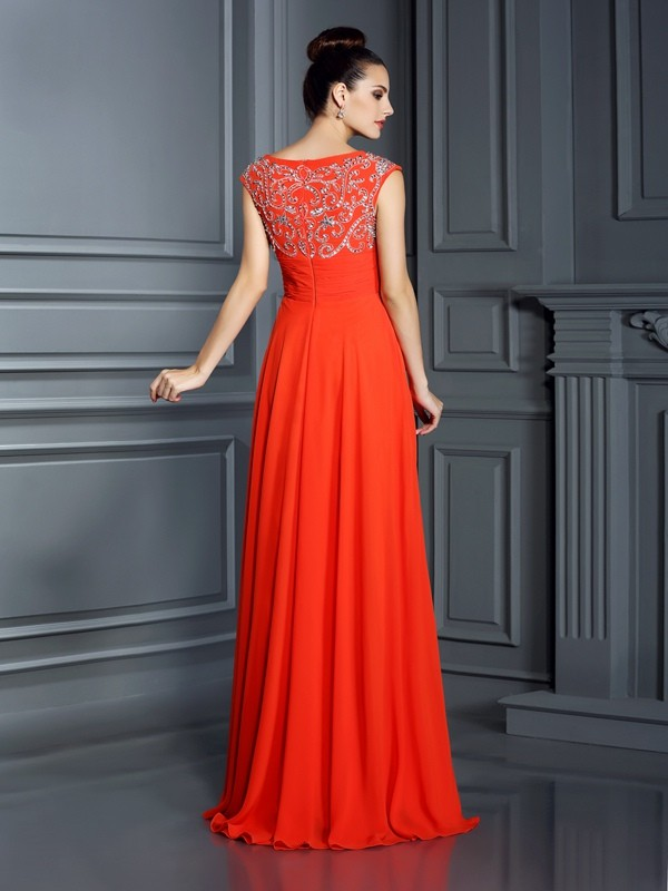Fashion A-Line Bateau Sleeveless Long Chiffon Dress