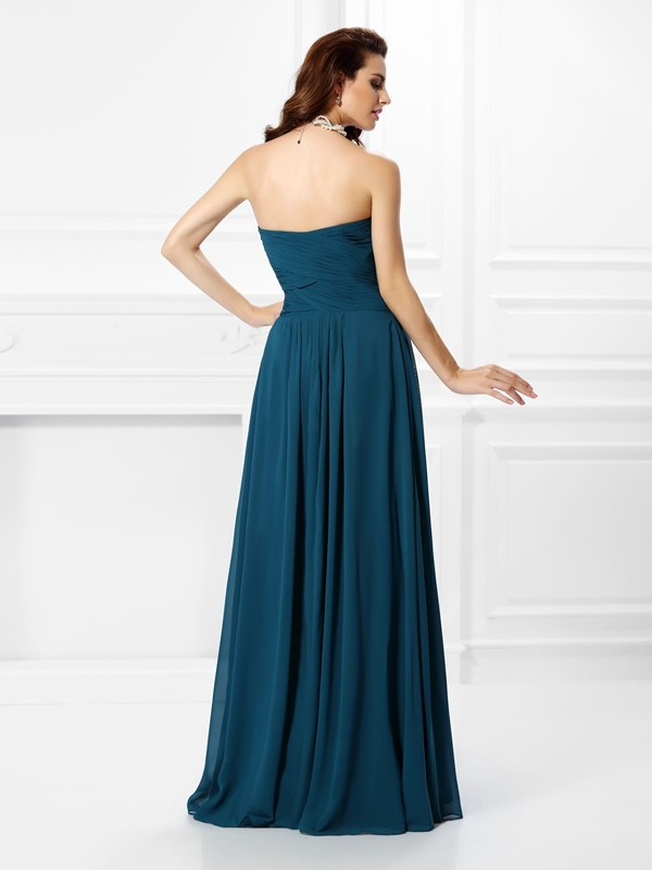 Fashion A-Line Sweetheart Sleeveless Long Chiffon Bridesmaid Dress