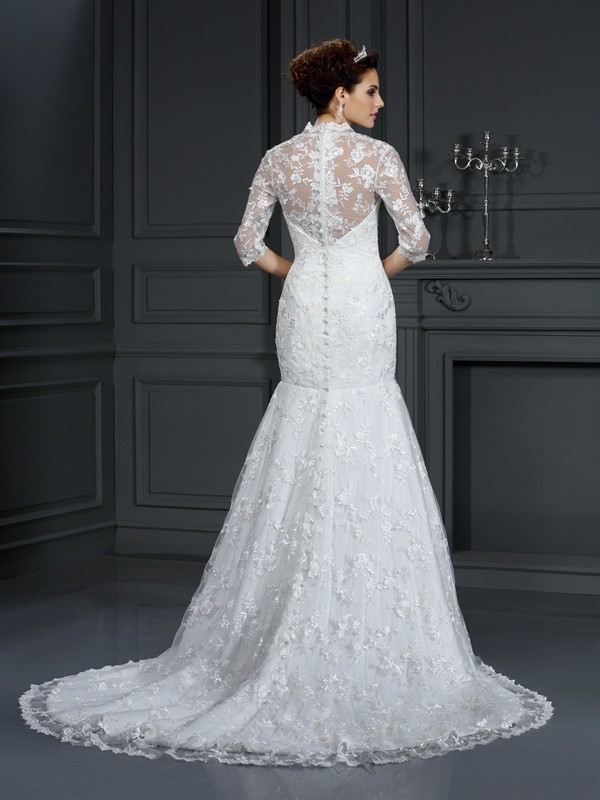 Fashion Mermaid V-neck Lace 1/2 Sleeves Long Lace Wedding Dress