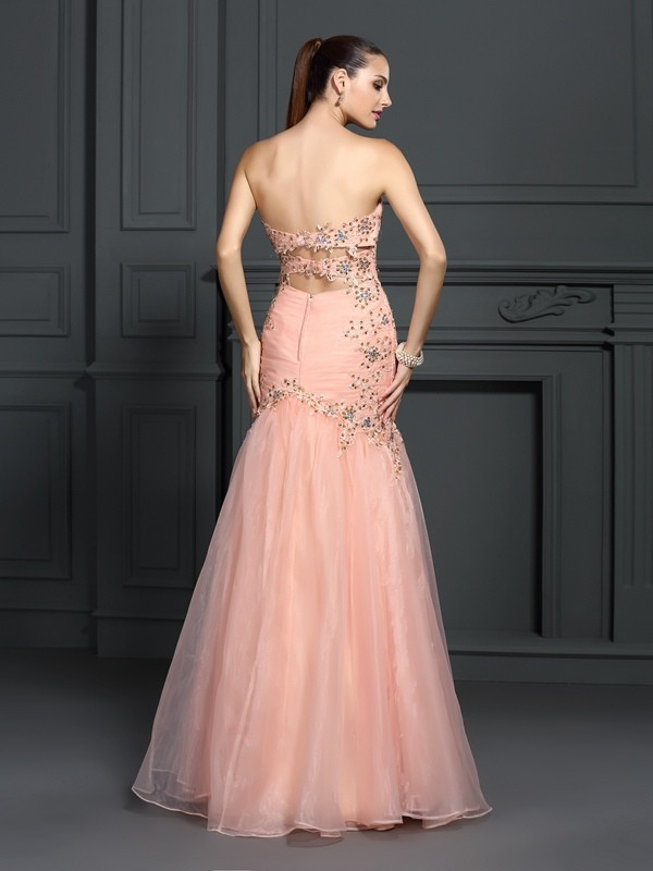 Exquisite Mermaid Sweetheart Sleeveless Long Organza Dress