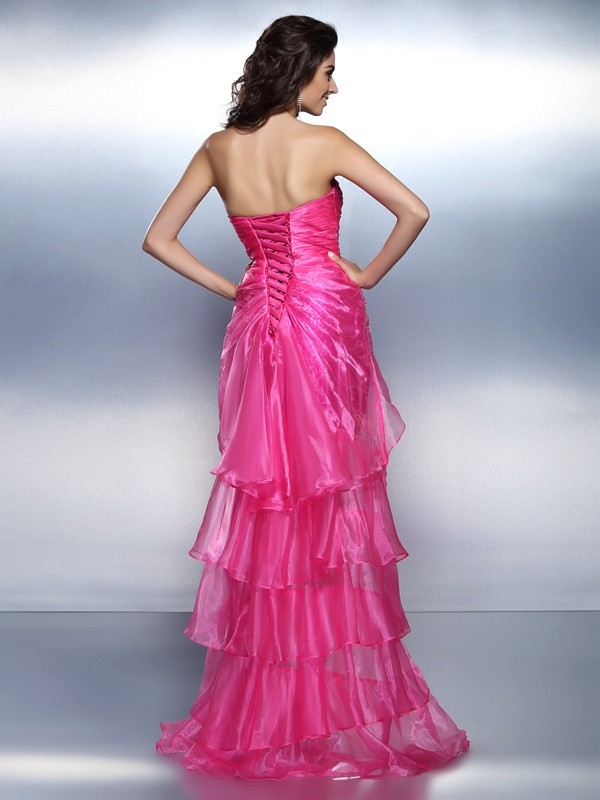 Exquisite Sheath Sweetheart Sleeveless High Low Organza Cocktail Dress