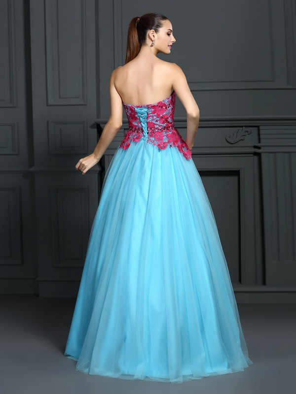 Exquisite Ball Gown Sweetheart Lace Sleeveless Long Satin Quinceanera Dress
