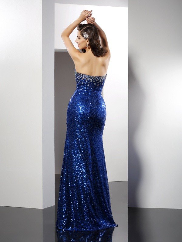 Exquisite Sheath Sweetheart Sequin Sleeveless Long Sequins Dress