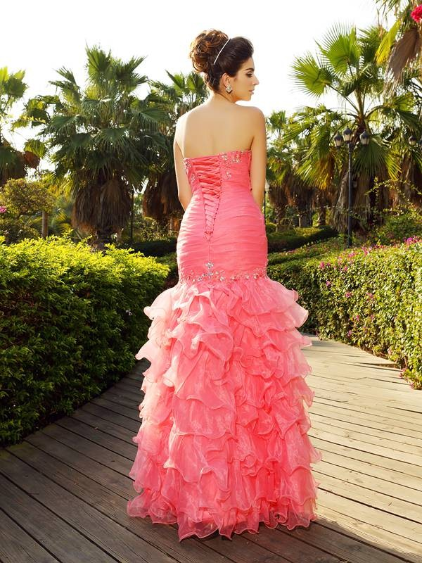 Exquisite Mermaid Strapless Sleeveless Long Organza Dress