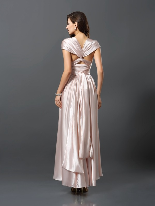 Exquisite Sheath Sleeveless High Low Silk like Satin Bridesmaid Dress