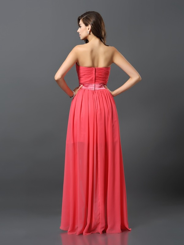 Exquisite A-Line Sweetheart Sleeveless High Low Chiffon Bridesmaid Dress
