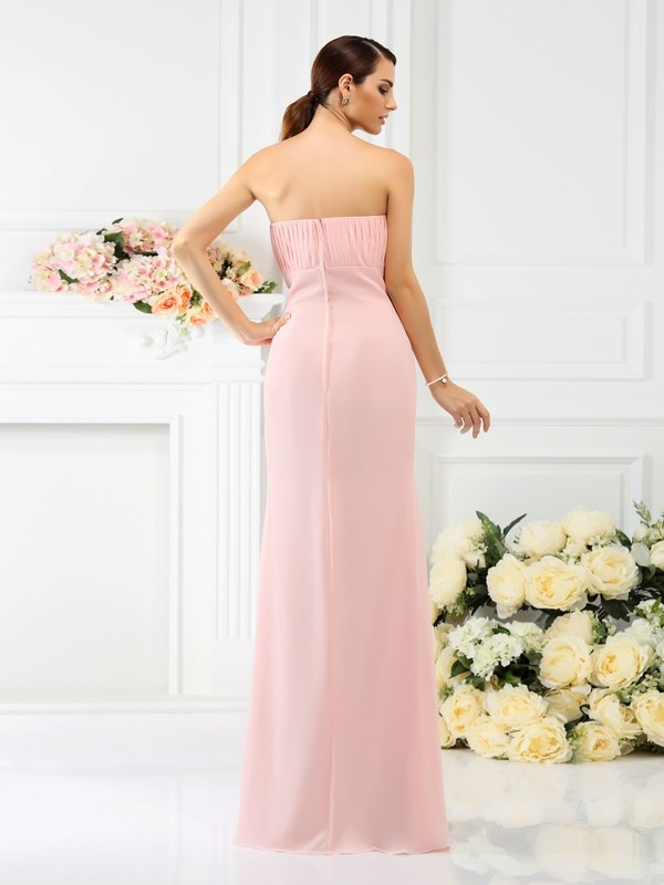 Exquisite Sheath Strapless Sleeveless Long Chiffon Bridesmaid Dress