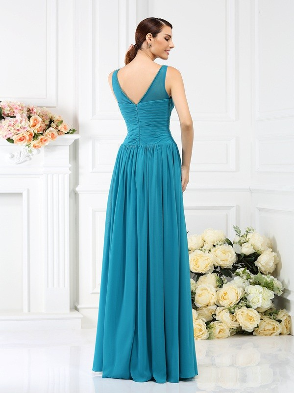 Charming A-Line Bateau Sleeveless Long Chiffon Bridesmaid Dress