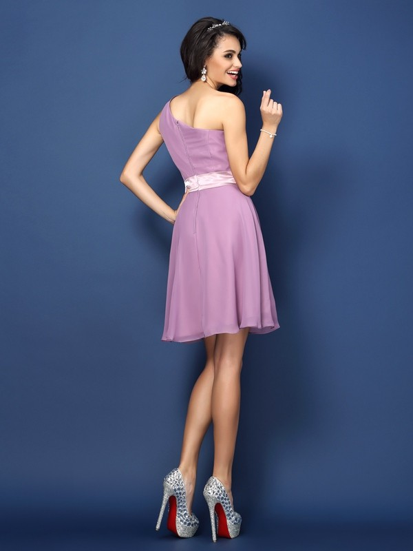 Charming A-Line One-Shoulder Sleeveless Short Chiffon Bridesmaid Dress