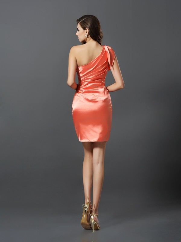 Charming Sheath One-Shoulder Sleeveless Short Elastic Woven Satin Bridesmaid Dress