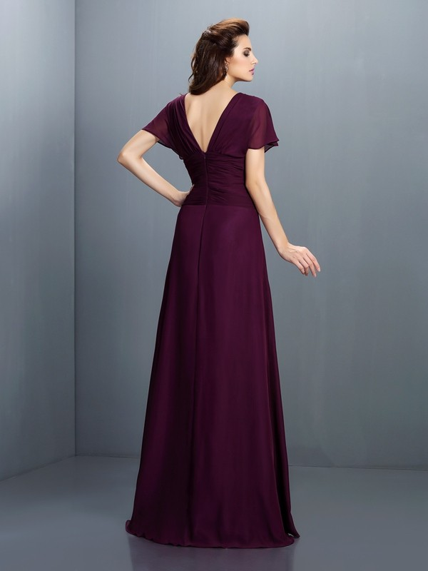 Charming A-Line V-neck Short Sleeves Long Chiffon Dress