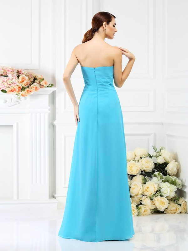 Charming A-Line Strapless Sleeveless Long Chiffon Bridesmaid Dress