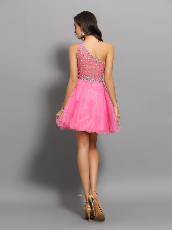 Charming A-Line One-Shoulder Sleeveless Short Organza Cocktail Dress