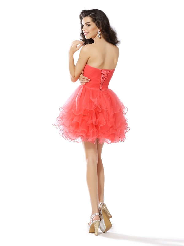 Charming A-Line Sweetheart Sleeveless Short Satin Cocktail Dress