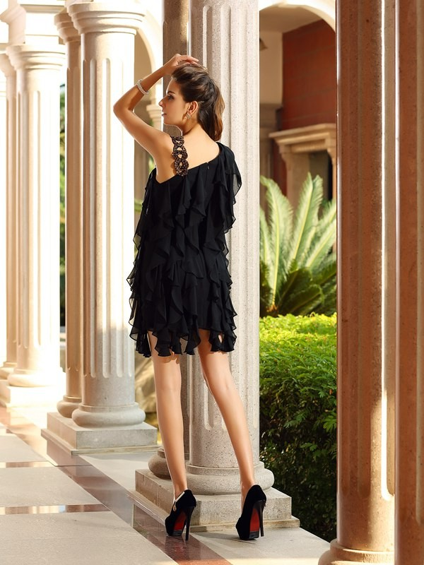 Classical A-Line Sleeveless Short Chiffon Cocktail Dress