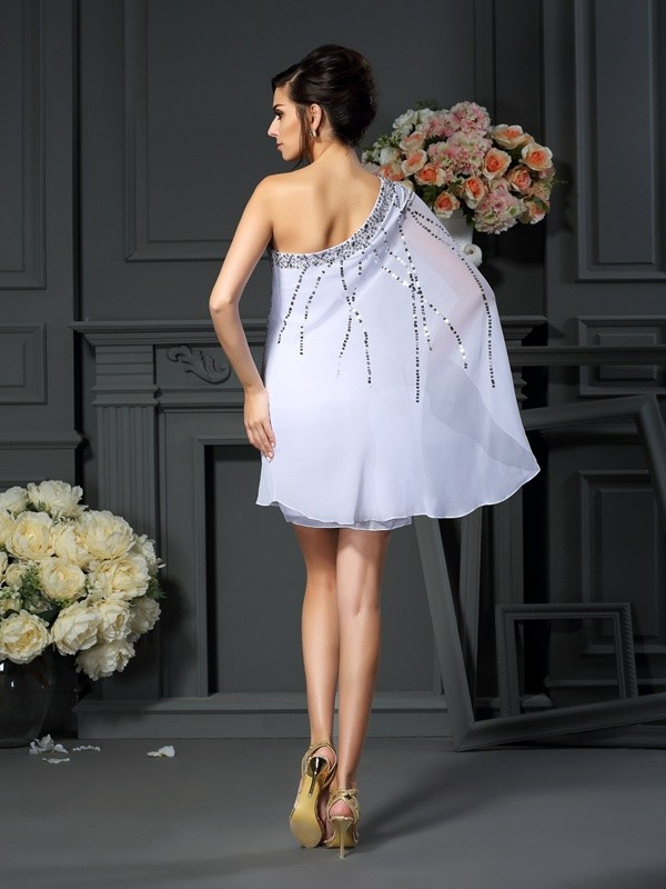 Classical A-Line One-Shoulder Sequin Sleeveless Short Chiffon Mother of the Bride Dress