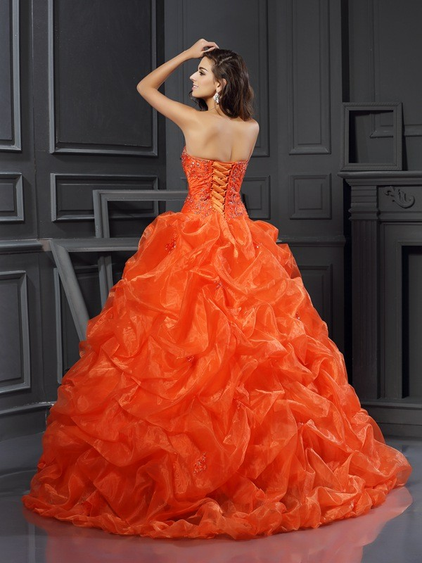 Classical Ball Gown Sweetheart Sleeveless Long Organza Quinceanera Dress