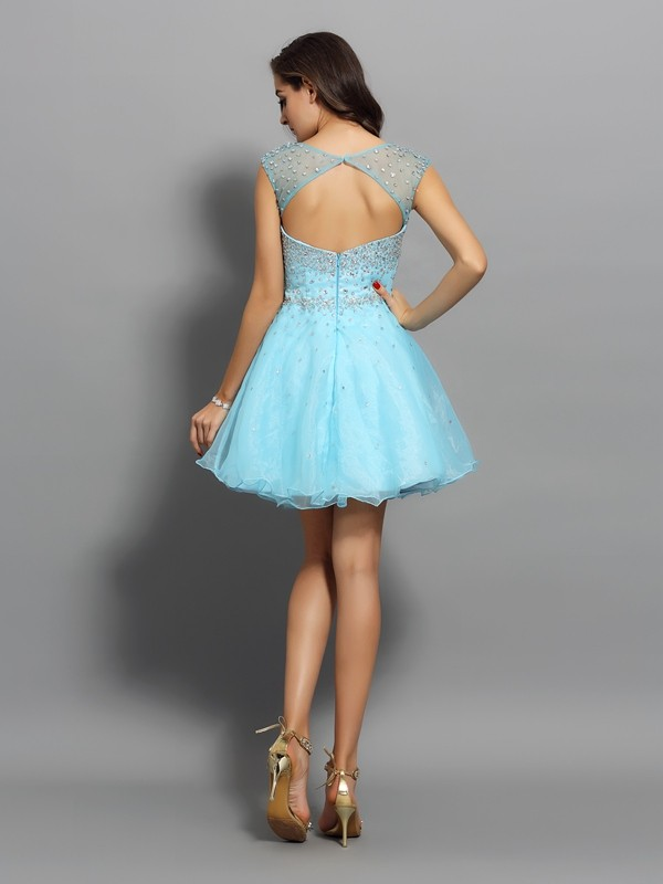 Classical A-Line Scoop Sleeveless Short Organza Cocktail Dress