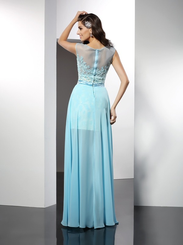 Classical A-Line Bateau Sleeveless Long Chiffon Dress