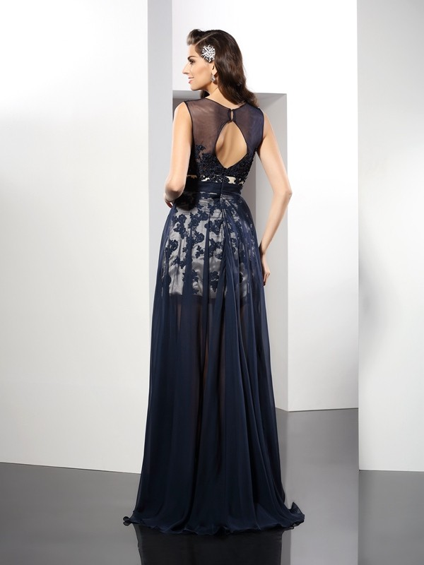 Classical A-Line Scoop Sleeveless Long Elastic Woven Satin Dress