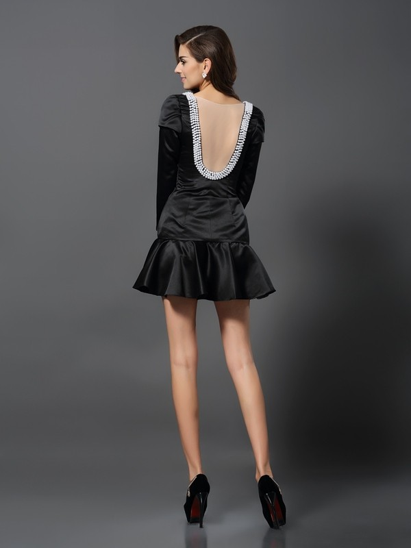 Classical A-Line V-neck 3/4 Sleeves Short Satin Cocktail Dress