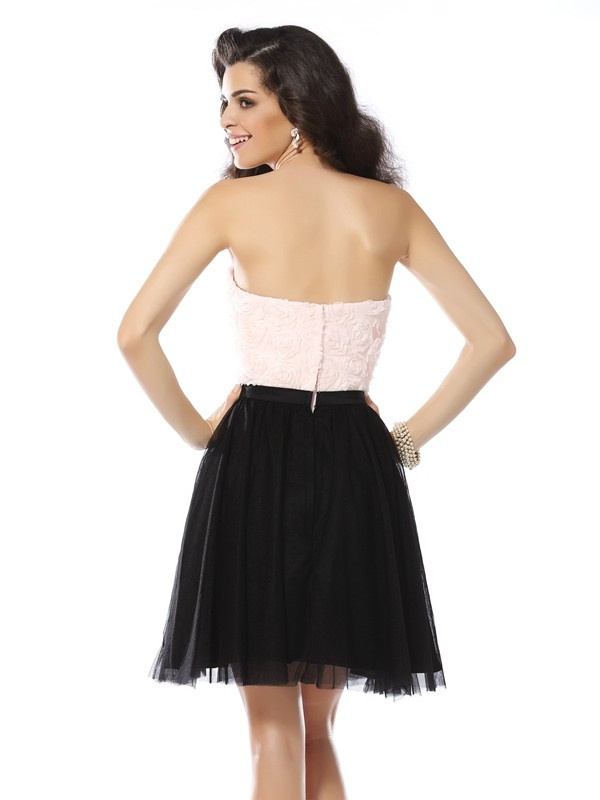 Classical A-Line Strapless Sleeveless Short Tulle Cocktail Dress