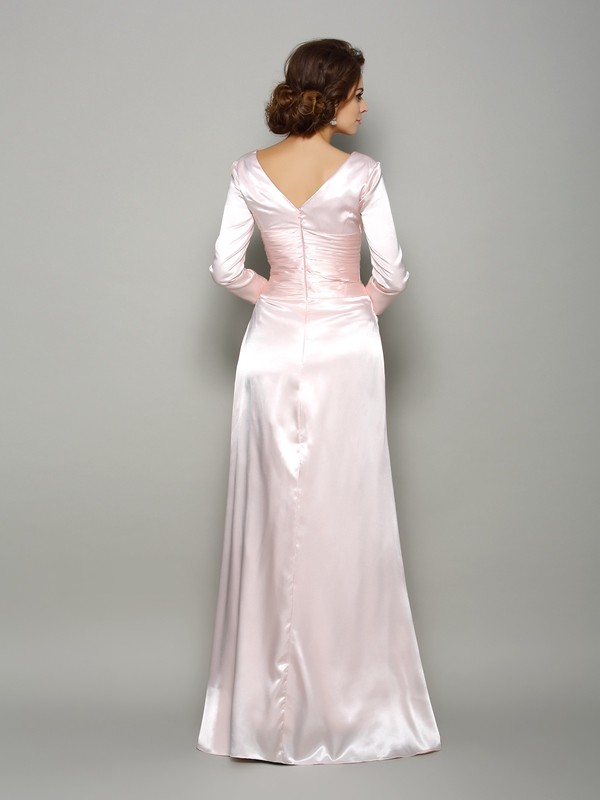 Classical A-Line V-neck Long Sleeves Long Silk like Satin Mother of the Bride Dress