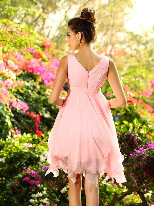 Classical A-Line V-neck Sleeveless Short Chiffon Bridesmaid Dress