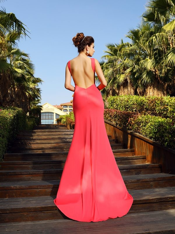 Classical Mermaid Bateau Sleeveless Long Spandex Dress
