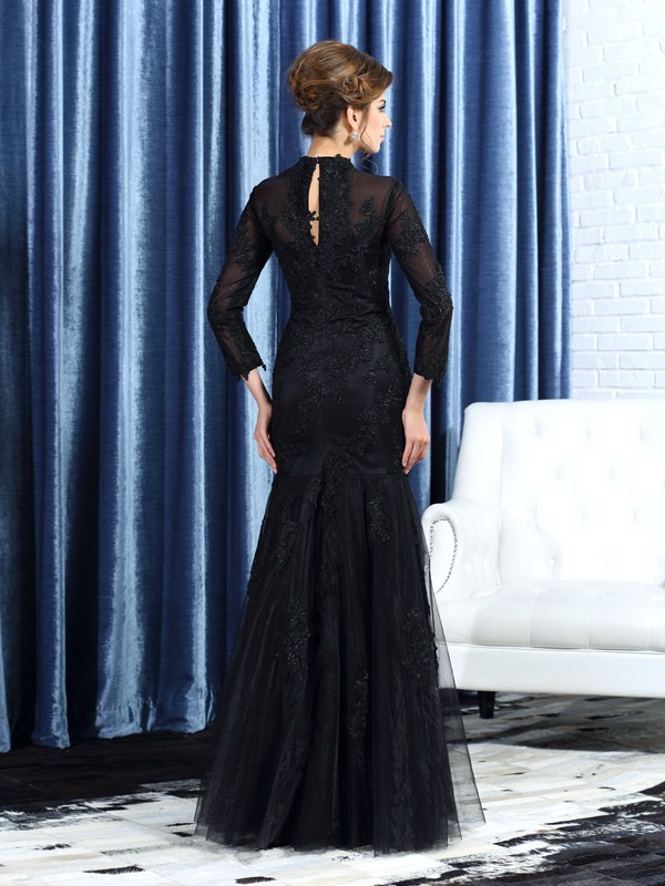 Classical Mermaid High Neck Long Sleeves Long Tulle Mother of the Bride Dress
