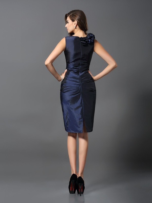 Fancy Sheath V-neck Sleeveless Short Taffeta Cocktail Dress