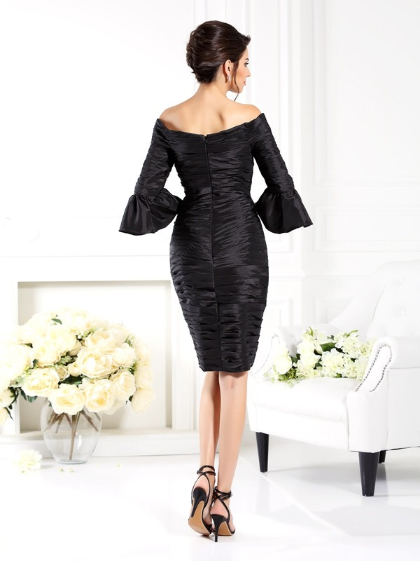 Fancy Sheath Off-the-Shoulder 1/2 Sleeves Short Taffeta Mother of the Bride Dress