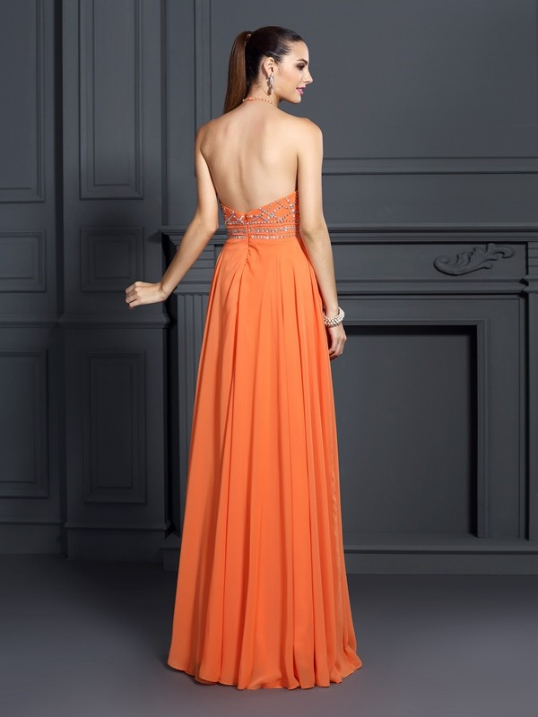 Fancy A-Line Scoop Sleeveless Long Chiffon Dress