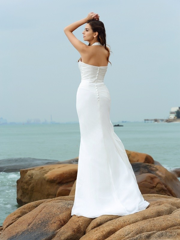 Gorgeous Sheath Halter Sleeveless Long Chiffon Beach Wedding Dress