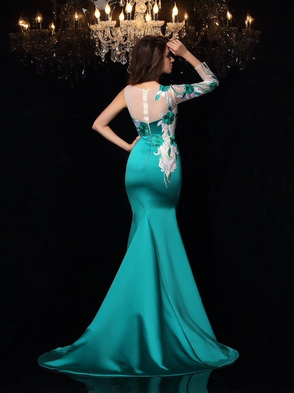 Unique Mermaid Scoop Sleeveless Long Satin Dress