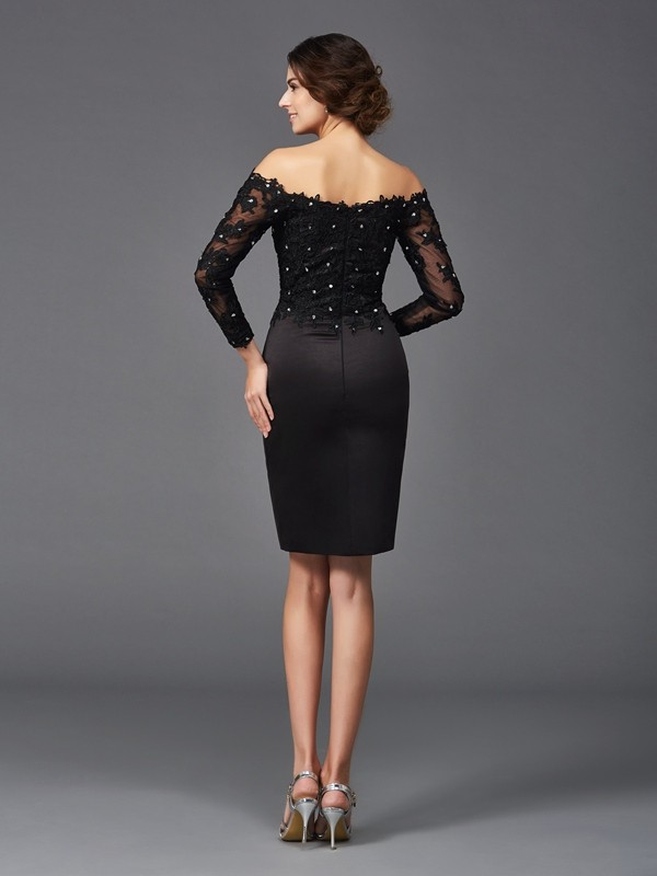 Nice Sheath Off-the-Shoulder Lace Long Sleeves Short Satin Mother of the Bride Dress