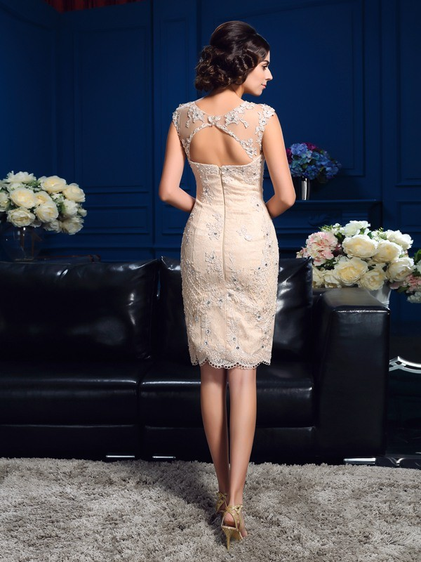 Nice Sheath Sheer Neck Lace Sleeveless Short Lace Mother of the Bride Dress