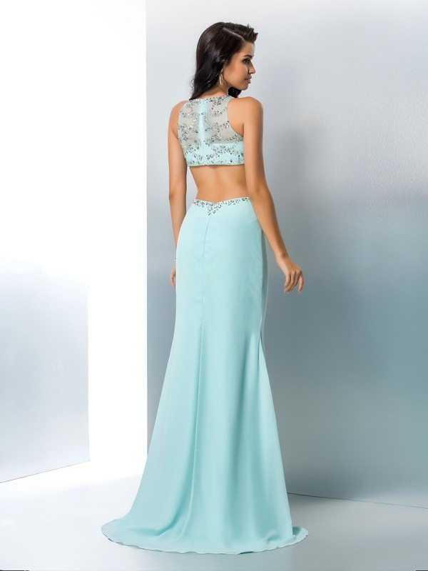 Nice Mermaid Scoop Sleeveless Long Chiffon Two Piece Dress