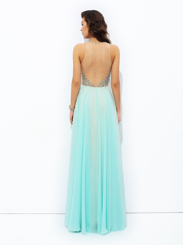 Nice A-Line Jewel Sleeveless Long Chiffon Dress